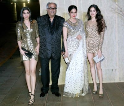 Sridevi daughter Jhanvi Kapoor with family at event