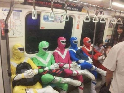 power rangers in subway weird people
