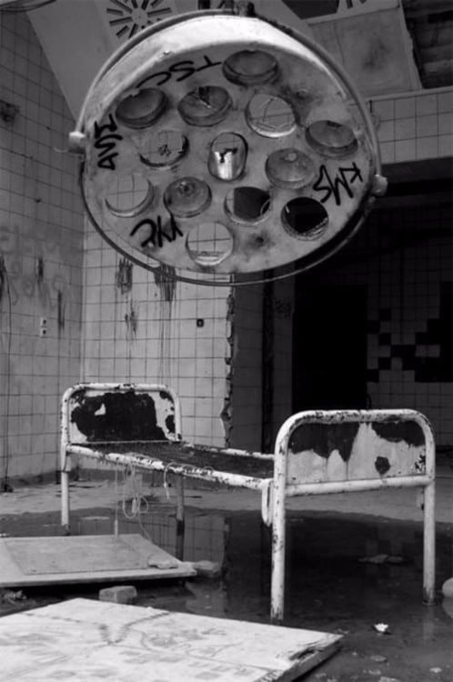 Abandoned hospital bed. Chernobyl, Ukraine
