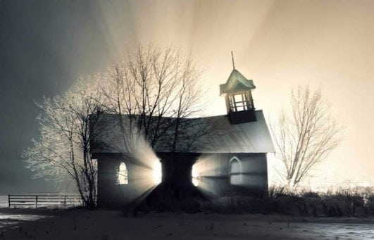 Church in the snow, Canada