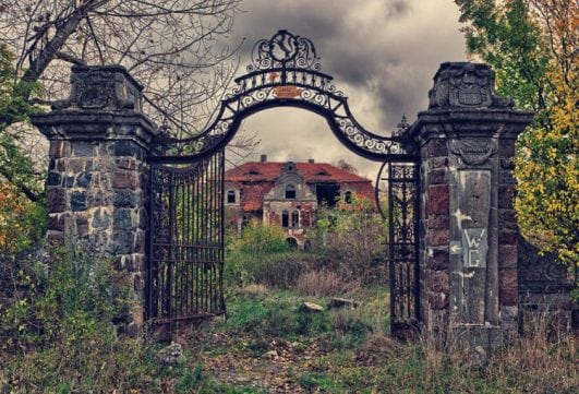Overgrown palace, Poland