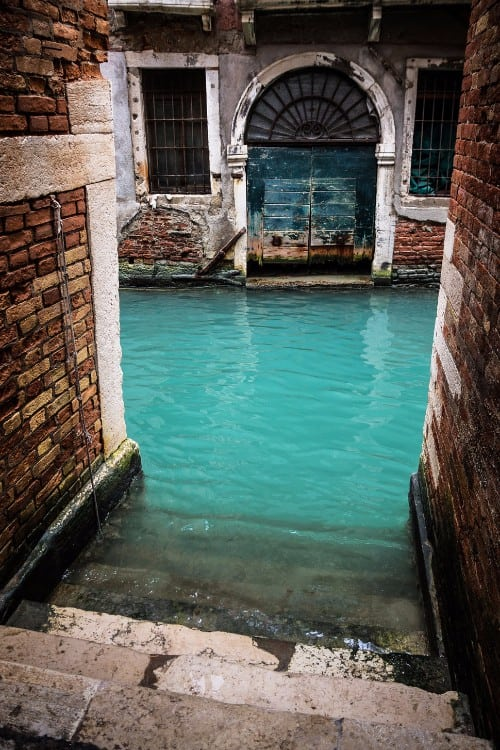 Turquoise Canal, Venice, Italy.