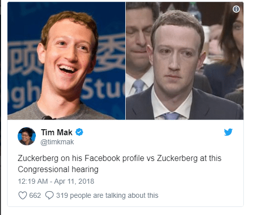 Tim Mak on Twitter Zuckerberg on his Facebook profile vs Zuckerberg at this Congressional hearing…