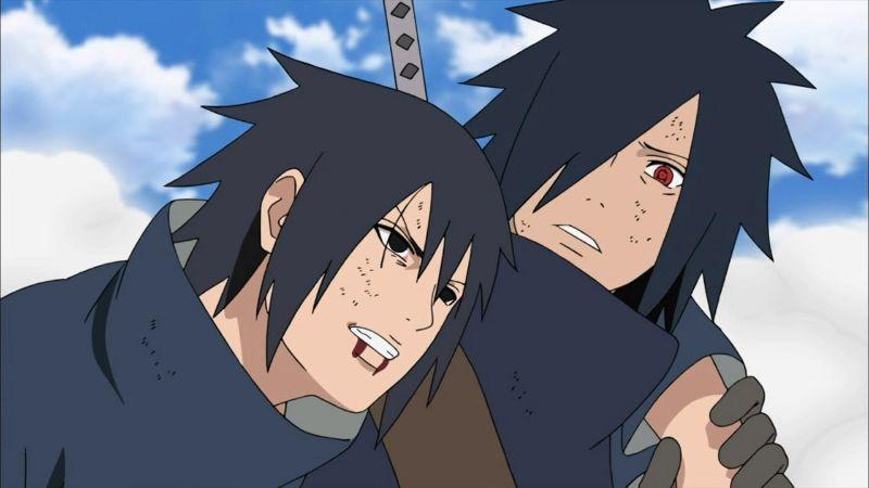 Izuna Uchiha with his brother Madara Uchiha