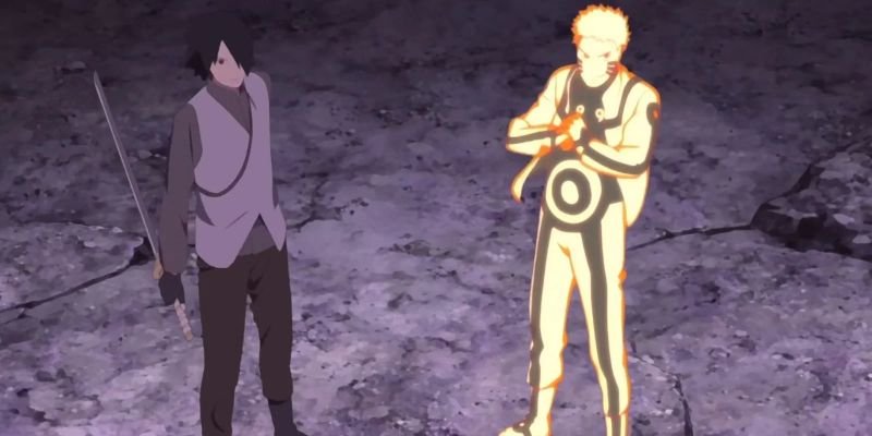 Sasuke with his one harm and naruto fight in Boruto movie (1)